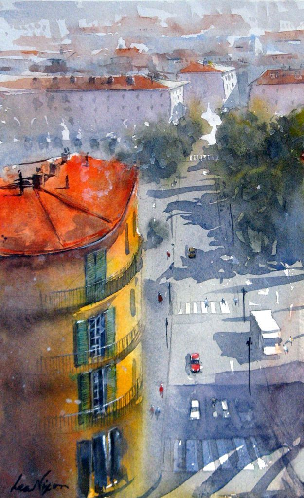 From The Museum In Nice. Watercolour by Lea Nixon.