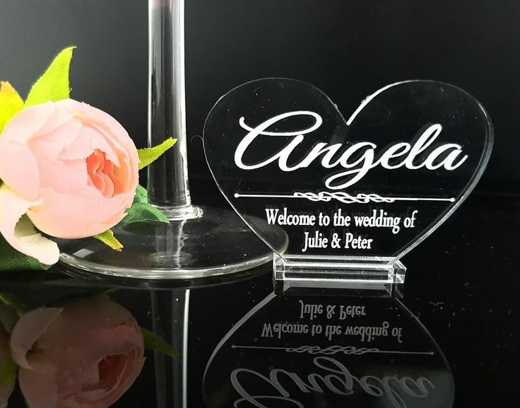 Personalised Heart Acrylic Wedding Table Cards Heart