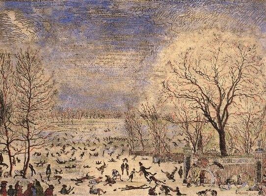 ensor painter | James Ensor >> Les Patineurs | (Oil, artwork, reproduction, copy ...