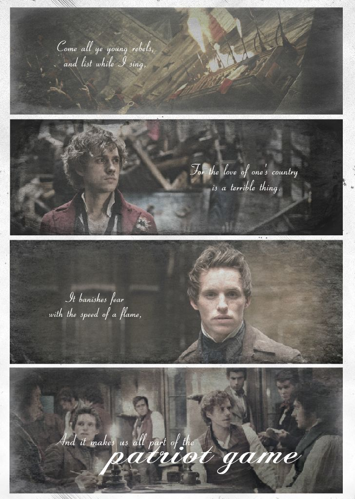 """""""Come all ye young rebels, and list while I sing, For the love of one's country is a terrible thing. It banishes fear with the speed of a flame, and it makes us all part of the patriot game."""" Just an old song I thought fit perfectly with Les Miserables <3"""