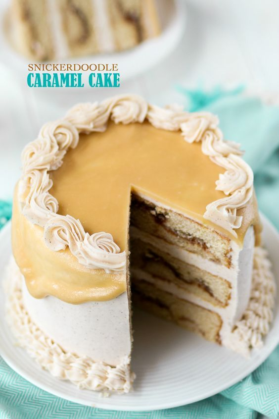 Snickerdoodle Caramel Cake - Confessions of a Cookbook Queen