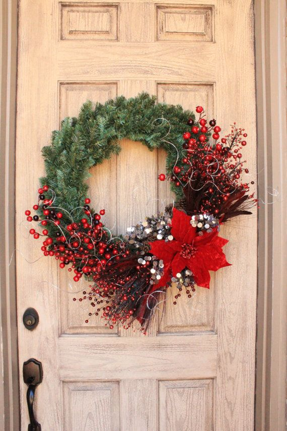 Large Red Poinsettia, Front Door Christmas Wreath, Decorations, Romantic, Dark Red, Silver, Sparkle, Glitter, Berries, Glamour Decor