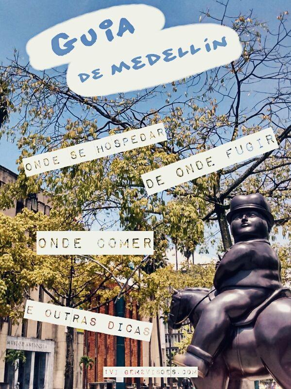 Vamos falar sobre os melhores bairros pra se hospedar em Medellín, alguns que você deve evitar, e dar umas dicas de restaurantes bons na cidade. Essa cidade encantadora é um dos destinos que mais fisgam viajantes na Colômbia: todos voltam apaixonados. Na foto: Escultura na Plaza Botero, na frente do Museu de Antioquia