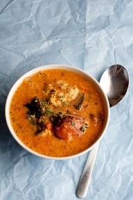 Rustic Tomato  Coconut Fish Soup - made with coconut milk
