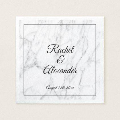 Elegant white marble stone custom wedding napkins | Zazzle.com