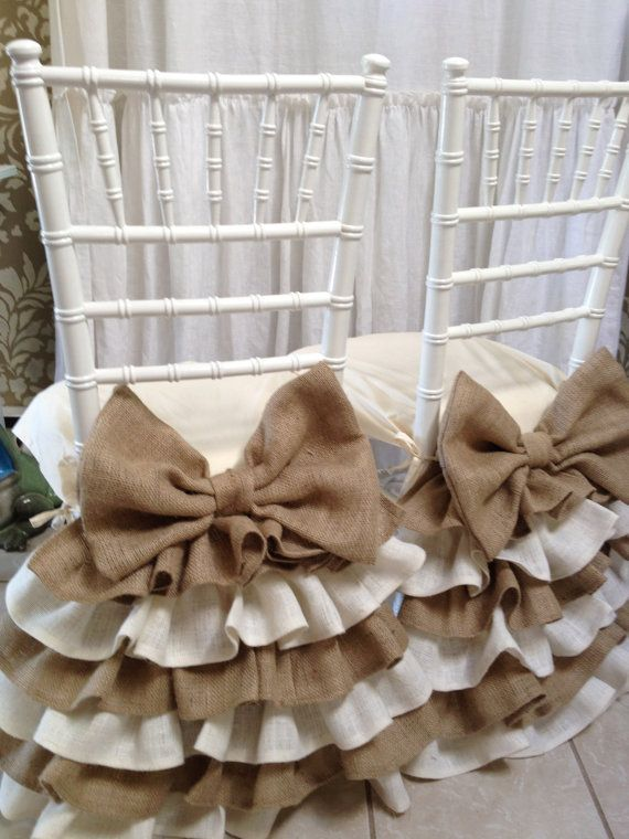 Four ruffled chair cover attach to a seat cover to better fit, ties in four corners to keep placed on the chair seat. Made to order send your measurements when order is placed.  the price is for one chair cover.  seat cover front side seat measurements back side and depth  made in burlap spot clean only