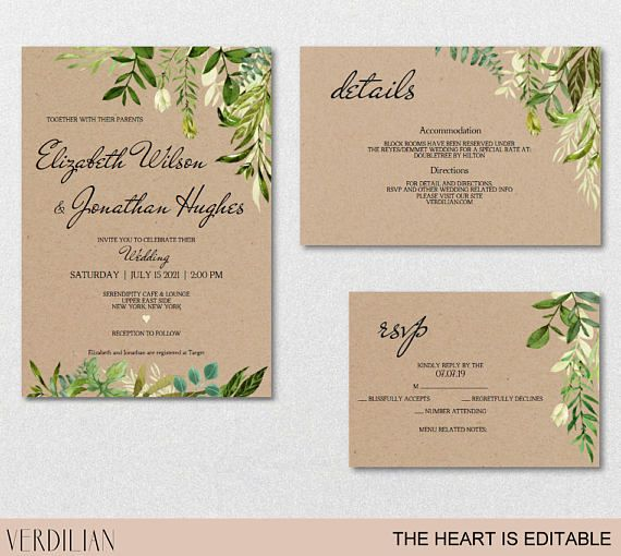 Rustic Wedding Invitation Template Greenery Watercolor Wedding