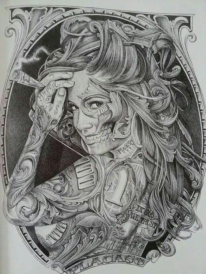 Chicano Style Tattoo #money #greed #tattoo