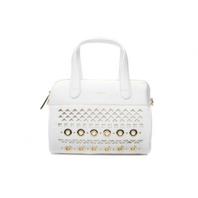 PINKO - Jahier boston bag laser detail and studs detail leather white  - Elsa-boutique.it