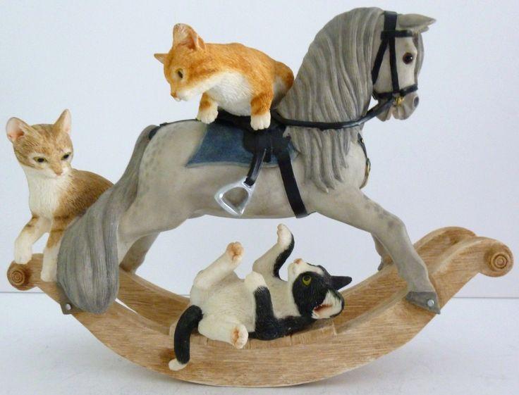 Sherratt Simpson Ginger Kitten Pair & a black and white with Rocking Horse Ornament.