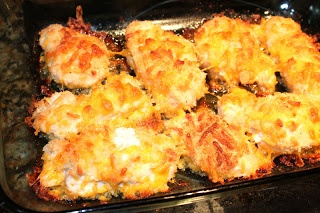 Crispy Cheesy Baked Chicken - I make this all the time! Easy, tender and delicious!