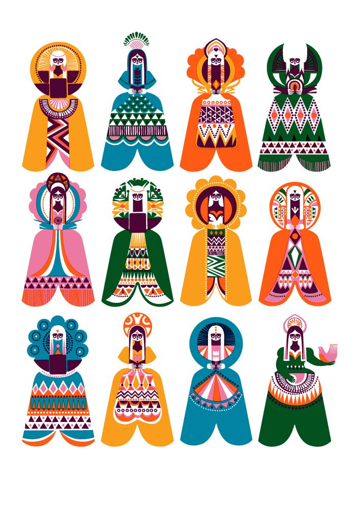 beautiful print...: Spirits of the North ~ Sanna Annukka: Sanna Annuka, Graphic, Folk Art, Pattern, Sanna Annukka, Illustrations, Spirit, Design, Annukka Illustration