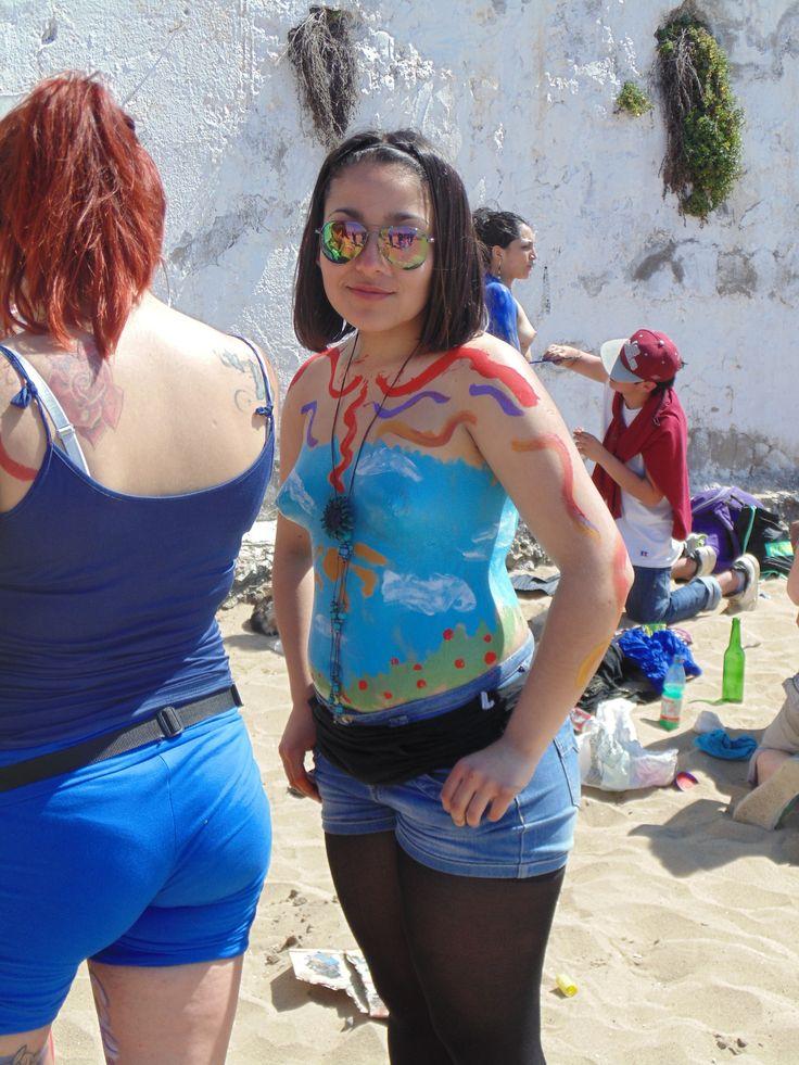 pintura corporal, en el marco de la celebración Valparaíso mil tambores 2014