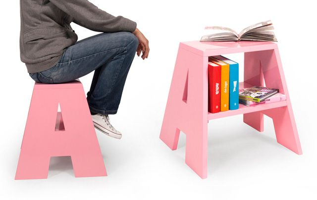"""Ancymo stools- """"A"""" stool/shelf/table- This would be so much fun in a kid's room!"""