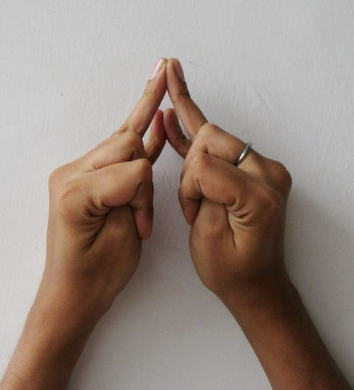 Shakti Mudra – for inducing sleep and relieving menstrual discomfort    Shakti Mudra is good for inducing sleep. Over a period of time, it helps people suffering from chronic insomnia. Shakti mudra releases the tension in pelvic region. It counteracts spasms in the intestines and helps females during menstrual discomfort. To do Shakti mudra, join ring fingers and little fingers as indicated. The index and middle fingers will fold loosely over the thumb.  The thumb will be bent inside the…