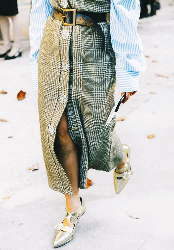 21 Street Style Looks That Prove Metallic Shoes Are Always the Right Choice via @WhoWhatWearUK