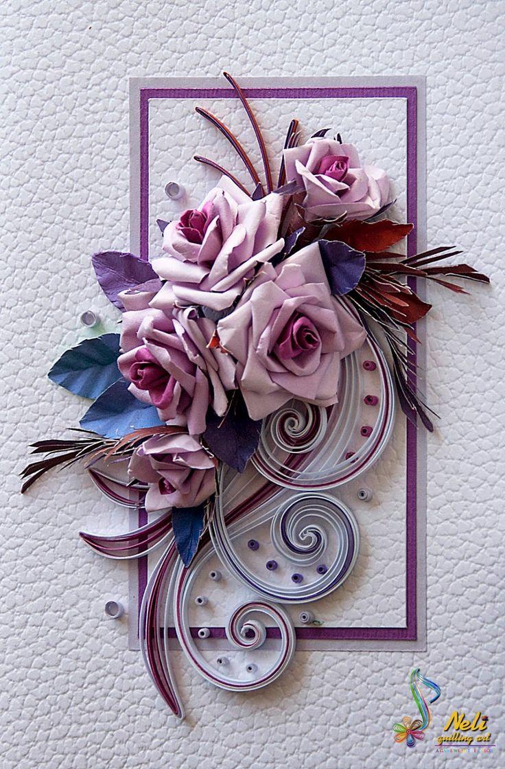 Электронные, открытки по квиллингу с розами