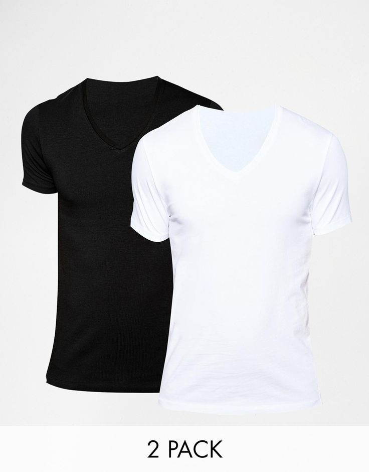 "Muscle fit t-shirt pack by ASOS Stretch jersey V-neck Slim cut sleeves Tight fit to the body Skinny fit - cut closely to the body Machine wash 96% Cotton, 4% Elastane Our model wears a size Medium and is 189cm/6'2.5"" tall Pack of two"
