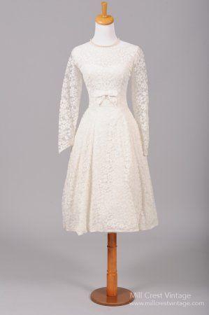 1950 White Tea Length Vintage Wedding Dress