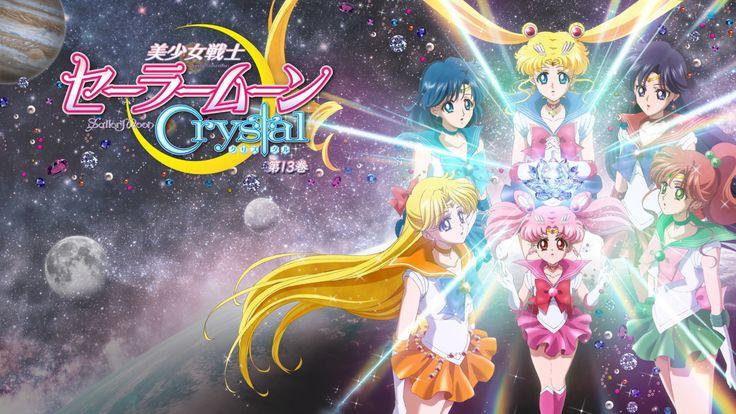 Sailor Moon Crystal Blu Ray Vol 13 complete cover, featuring the inner senshi Sailor Moon, Sailor Mercury, Sailor Mars, Sailor Jupiter, Sailor Venus and Sailor Chibimoon.