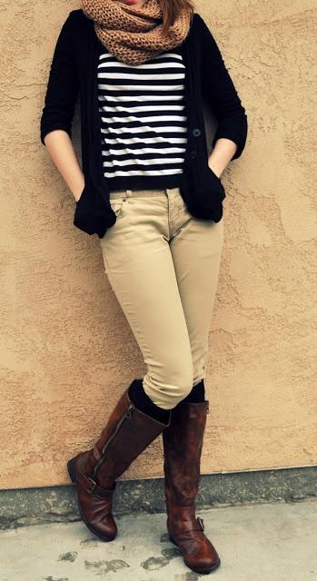 striped shirt, black cardigan, beige jeans, riding boots, socks+scarf