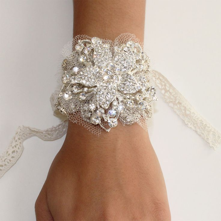 Great Gatsby 1920's Inspired Crystal Floral Bracelet Prom Bridal