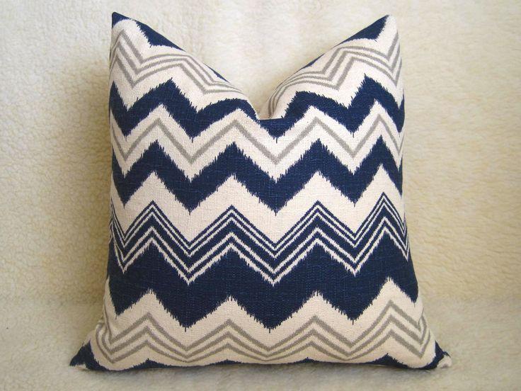 decorative ikat chevron pillow navy blue 18 inch ikat pillow linen pillow