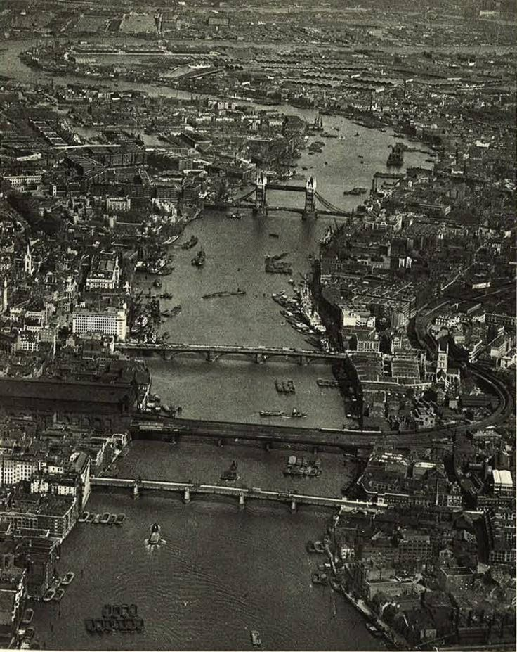 London from the air before skyscrapers the impact of WWII. A shot from c.1935