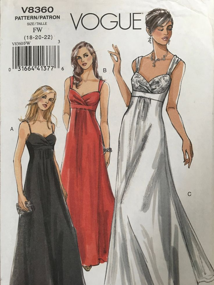 Vogue Sewing Pattern V8360 Misses Lined Evening Dress Size 18, 20, 22. 2007 uncut pattern by weseatree on Etsy