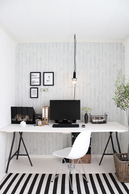 #workspace #office #ikea #white #black #rug #stripe