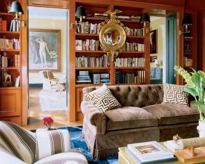 ...: Bookshelves, Orange, Living Rooms, Elle Decor, Convex Mirror, Colors Palettes, Miles Redd, Rich Colors, Milesredd