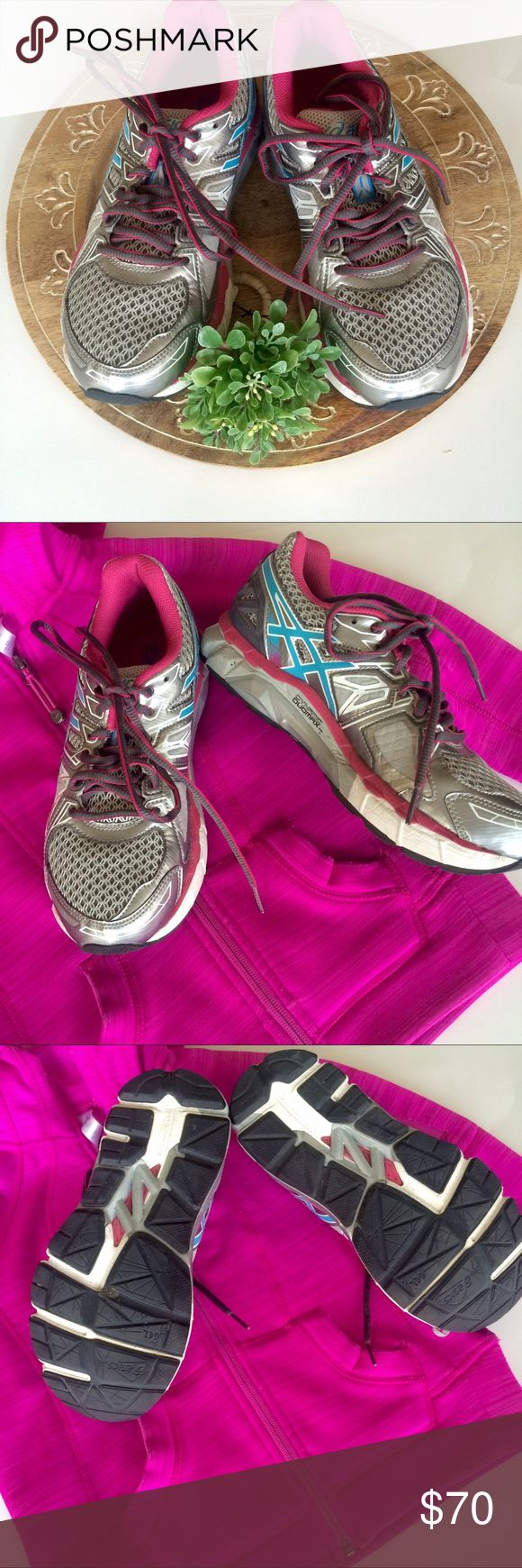 Asics fortify running shoes Great pair of Asics Gel fortify running tennis shoes. No longer available in stores. Worn twice! Size 6.5. Good for: running, cross-training. Sturdy and supportive. Color: Lightning/turquoise/Cabernet Asics Shoes Athletic Shoes