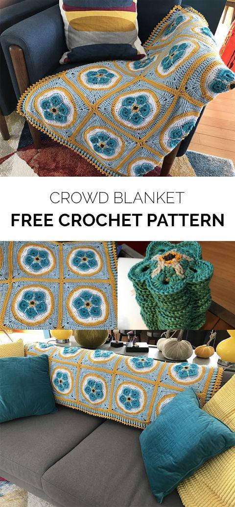 Crowd Blanket Free Crochet Pattern #crochet #crafts #homedecor ...