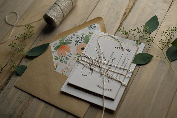 Rustic Calligraphy Letterpress Invitation Wrapped In Glitter Twine With Kraft and Pattern Envelope Liner. on Etsy, $10.50