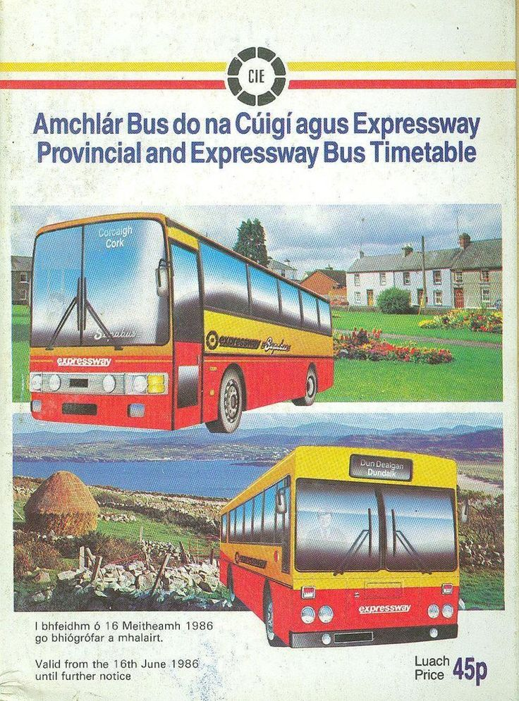 CIE Ireland Dublin Provincial Bus Timetable 1986 Coras Iompair Eireann