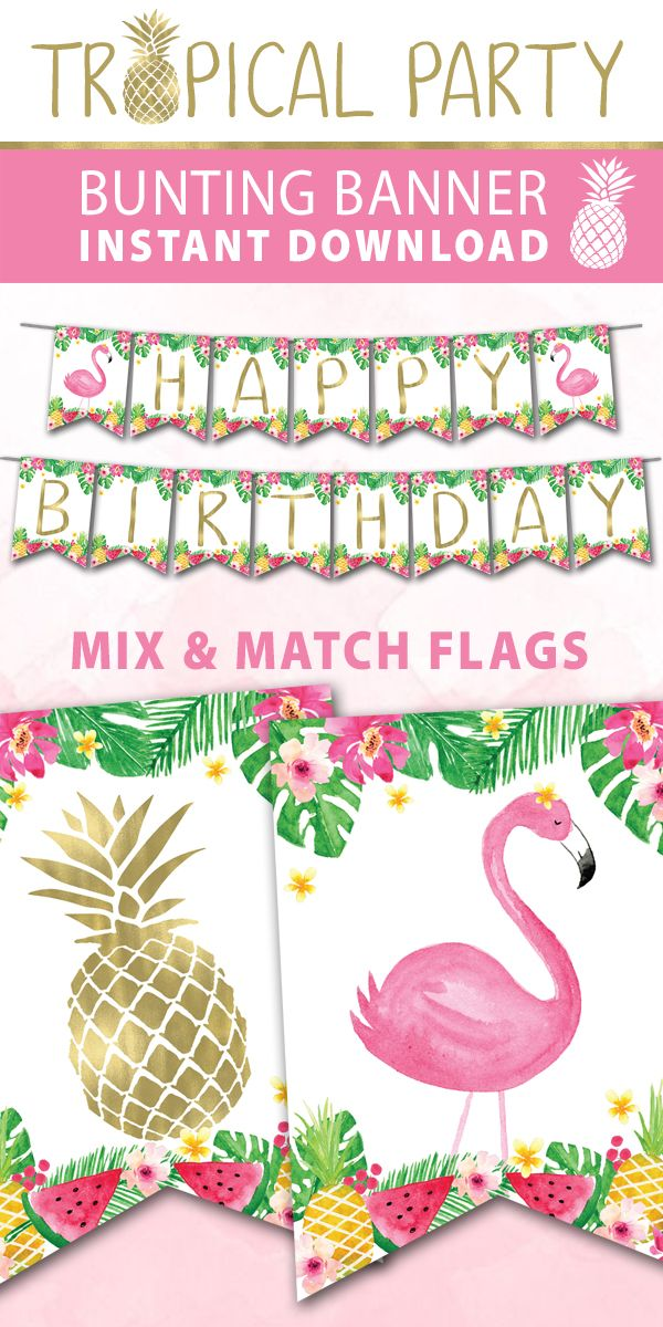 Tropical Birthday Banner Happy Birthday Banner Diy Tropical Birthday Flamingo Birthday