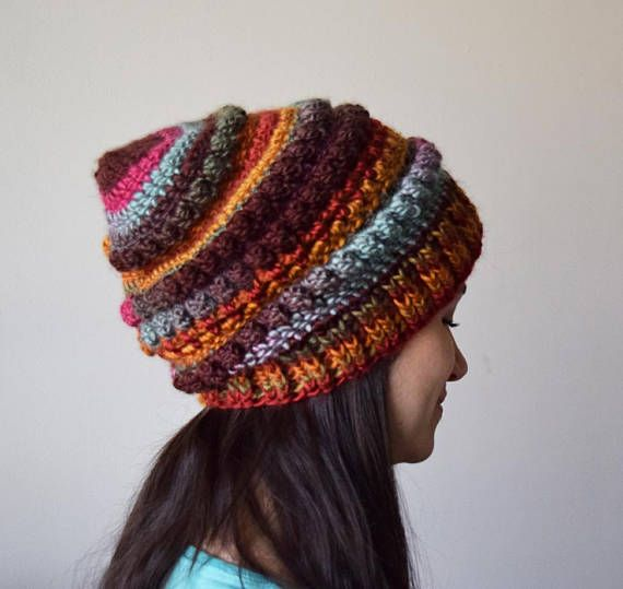 02a11b4e Slouchy bubble stitch beanie chunky winter hat made in the Desert ...