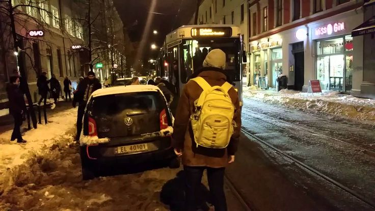The tram got stuck. Look what the pedestrians did