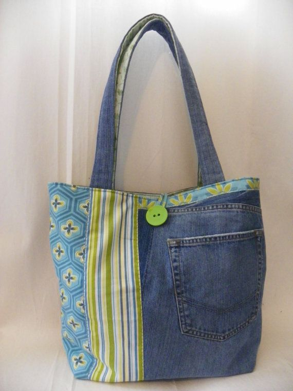 Upcycled Large Jean Tote Bag