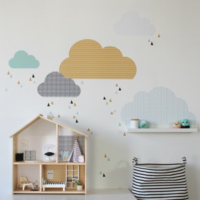 Wandfolie Lille Stuba für das IKEA Puppenhaus FLISAT senf-mint 01