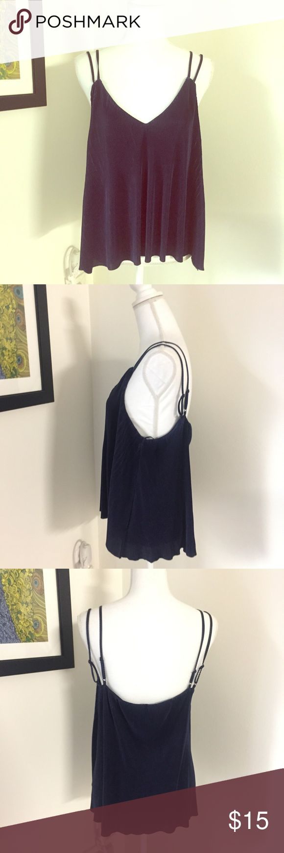 """Eloide navy blue Pleated flowy tank Adorable dark navy blue accordion pleated tank blouse. V-neck with double spaghetti straps. Brand new with tag. Bust 18"""", length 24"""". elodie Tops Blouses"""