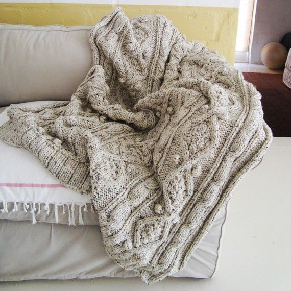 chunky oatmeal cable knit throw