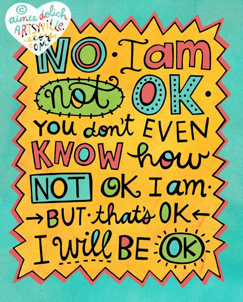 I am Not OK But I Will Be OK 8x10 doodle print by artsyville
