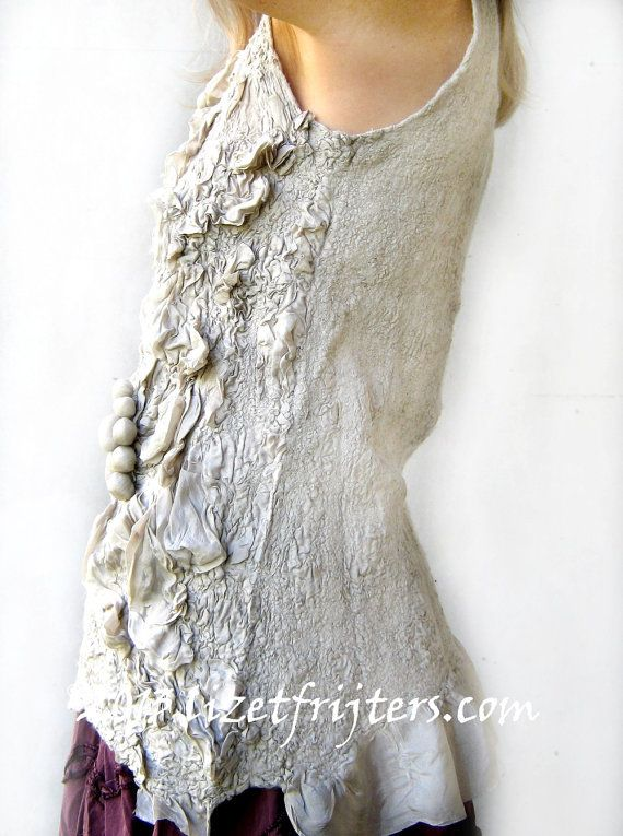 Nuno Felt Clothing Grey Textured Nuno Felted Top  by lizetfrijters, $225.00
