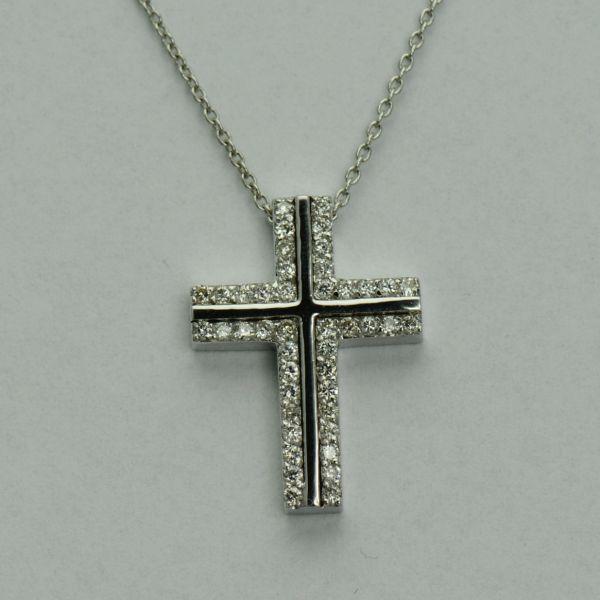 Lant si pandantiv cruce din aur alb 18k