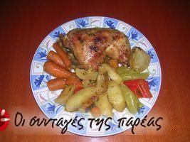 Κοτόπουλο στη γάστρα με αρωματικές πατάτες #sintagespareas