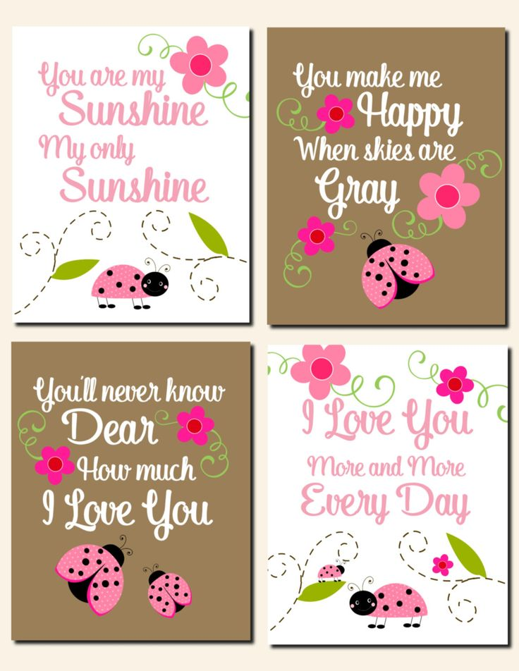 Ladybug Nursery Wall Art Kids Wall Art You Are My Sunshine Baby Girl Nursery Art Pink Brown Flowers Ladybugs Toddlers, Set of 4 Art Prints by vtdesigns on Etsy
