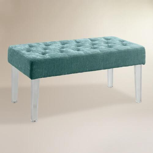 Turquoise Velvet Acrylic Leg Ottoman Window Seats