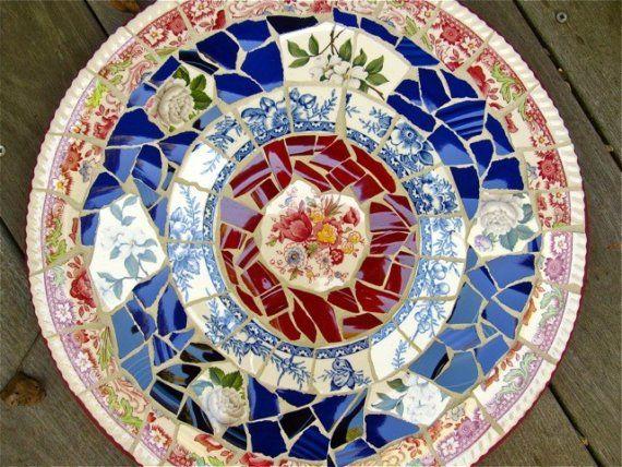 """14"""" Vintage China Lazy Susan - Pique Assiette Mosaic"""