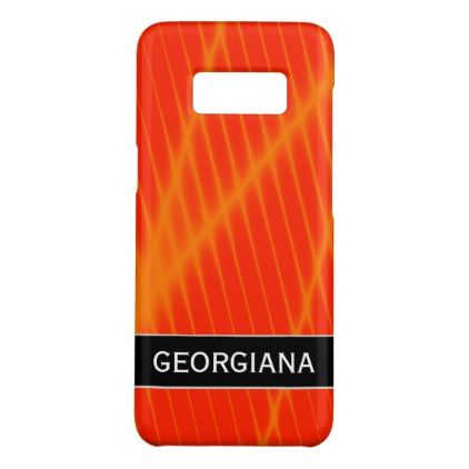 #name - #Orange Laser Beam Look Lines on a Red Background Case-Mate Samsung Galaxy S8 Case